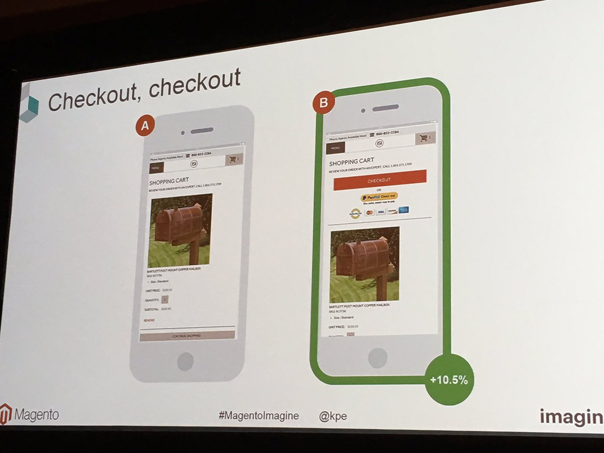 garymediaspa: Per blue acorn, this checkout a/b test showed adding checkout button up top helped! #MagentoImagine @kpe https://t.co/8hKI4UmabR