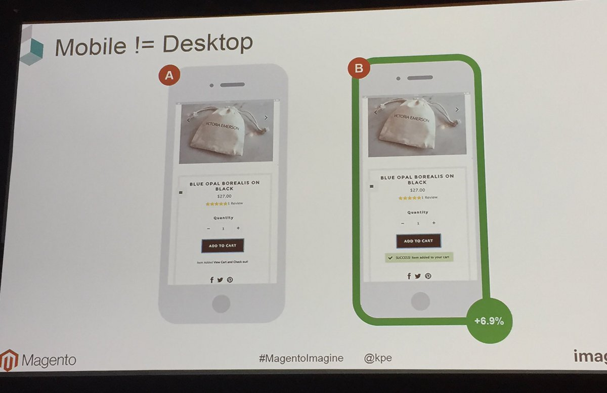 annhud: Mobile revenue per user goes up with added to cart success message, but worse on desktop! #abtest #MagentoImagine https://t.co/FCAWQzXuVo