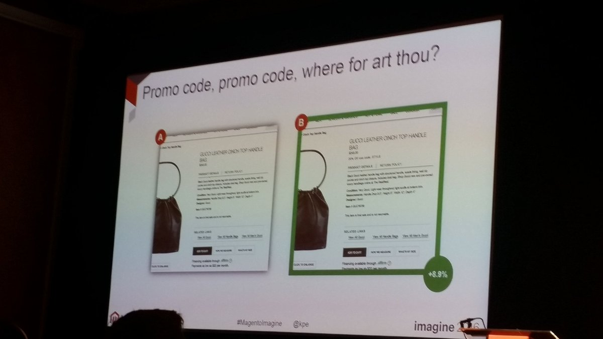 helenelefebvre: Display promo codes where visitors actually see it #MagentoImagine #abtest https://t.co/jvQscUiPXv
