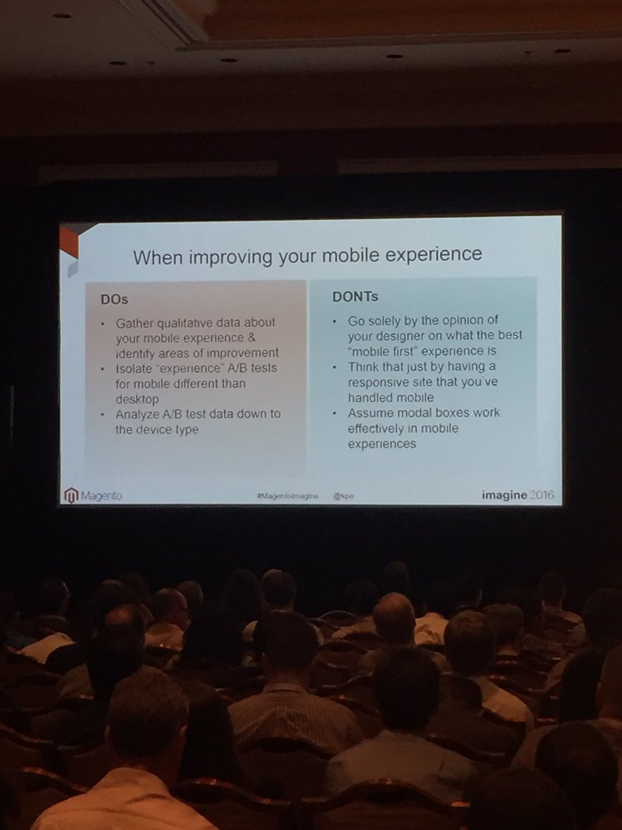 blueacorn: Understand impact of changes from one device to another. Analyze data by device type says @kpe #MagentoImagine https://t.co/QgjSTNokJo