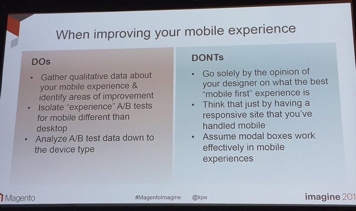 annhud: Dos and Don'ts of #mobile A/B testing #abtest #MagentoImagine https://t.co/08YyCxgOTz
