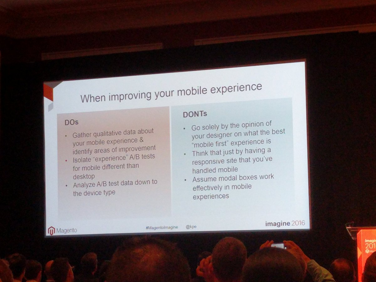 chrisjguerra: #ProTips for when improving your mobile experience via @kpe #MagentoImagine https://t.co/3KRtwwJ0Kl