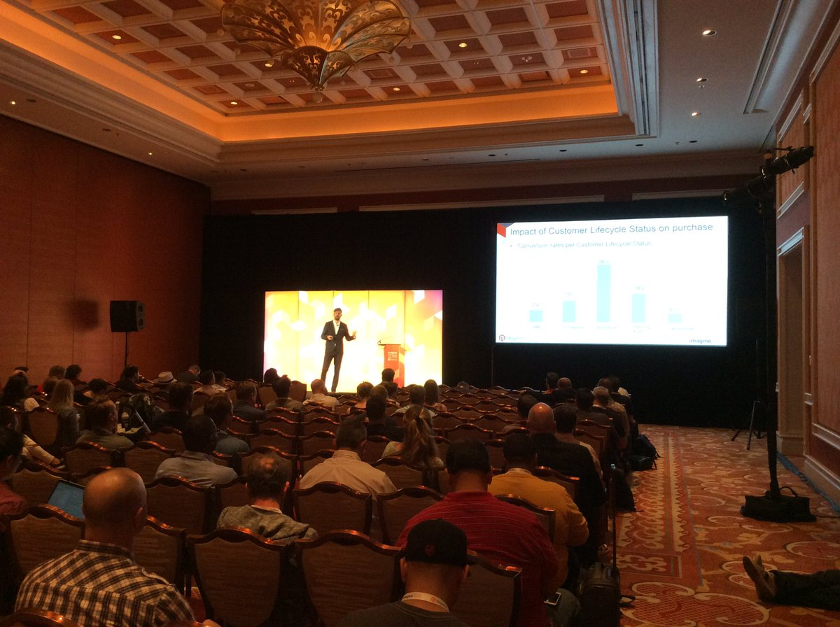 magento: Alex Timlin @Emarsys : Better Customer Lifetime Value = revenue / 1st time & repeat customers #MagentoImagine https://t.co/tEMtGemQij