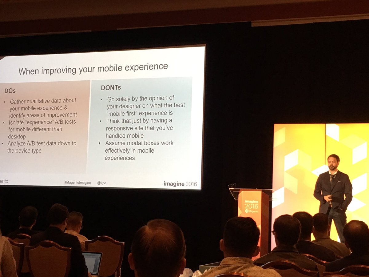 pixafy: Little changes can make a big difference in conversion. Test, test, test! Thanks @kpe @blueacorn #MagentoImagine https://t.co/E1d3I7ATV2