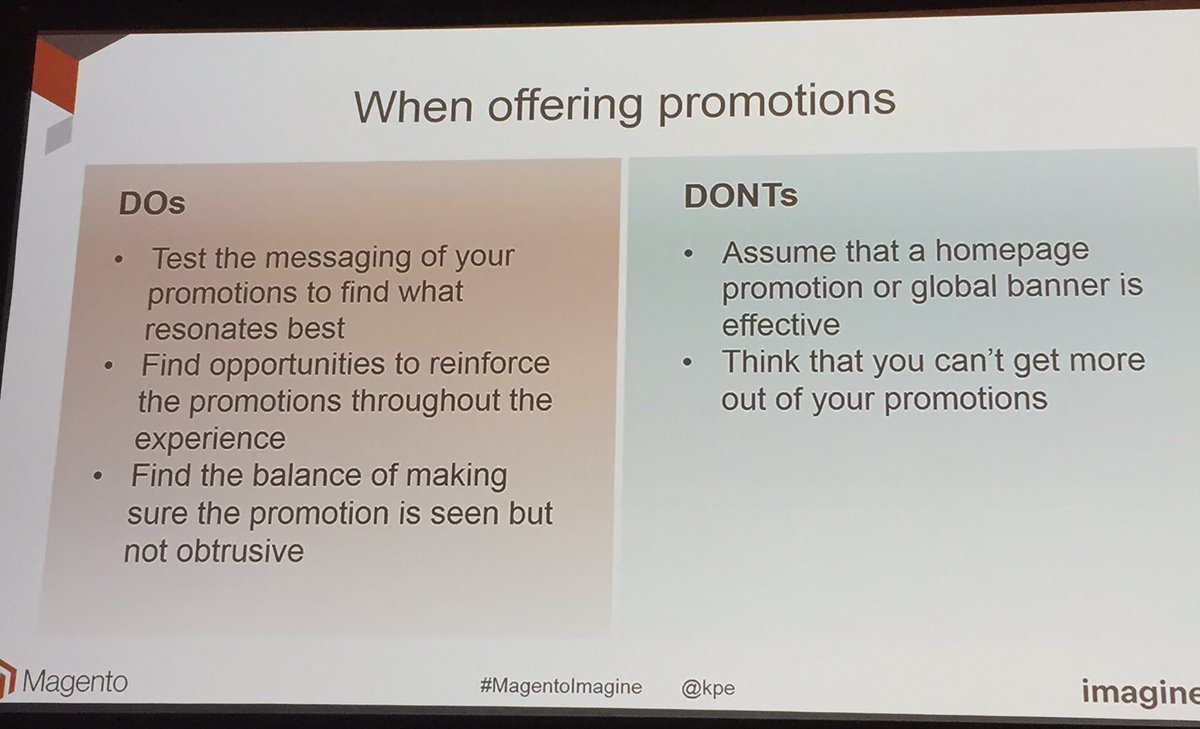 annhud: Dos and Don'ts of offering promotions #abtest #ecommerce #MagentoImagine https://t.co/XPmVav2sUv