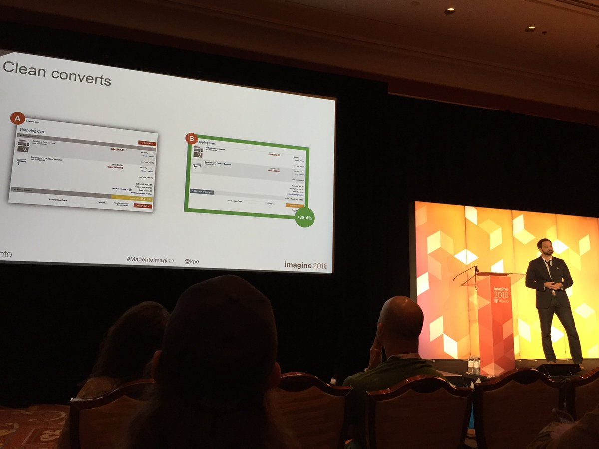 errorik: Wow. Some mind blowing knowledge from @kpe on A/B testing your #ecom experience. #MagentoImagine #CleanConverts https://t.co/6vMG8O95UL