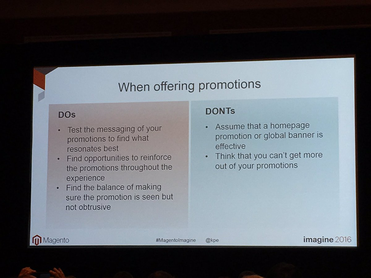 PinpointDesigns: Dos and Donts when offering promotions on your site by @kpe #MagentoImagine https://t.co/t60jVAiz2r