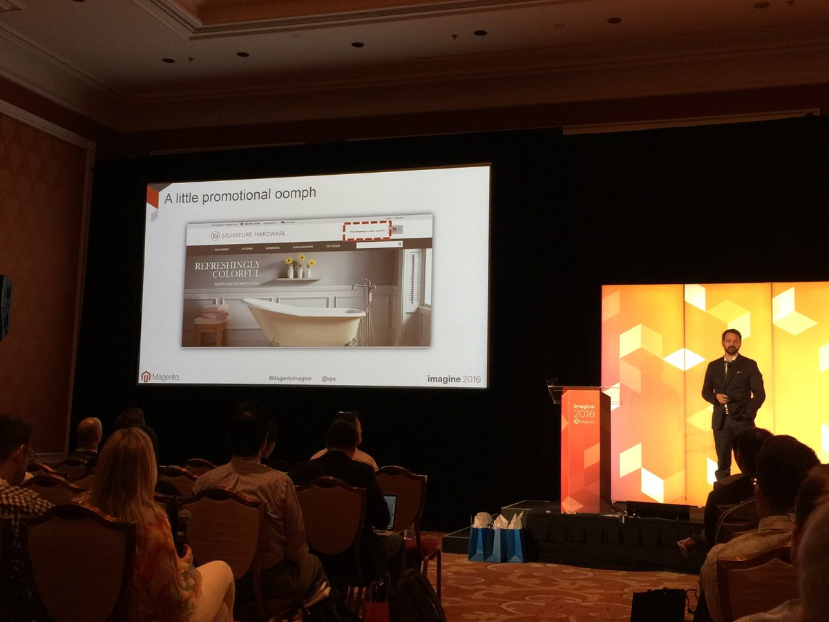 gaugeteam: @kpe is crushing the A/B testing breakout session at #magentoimagine nThe force is strong with this one! https://t.co/qtNePBIiBf