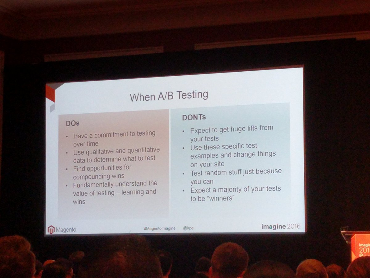 chrisjguerra: #ProTips when A/B testing via @kpe  #MagentoImagine https://t.co/WRvHofUPh9