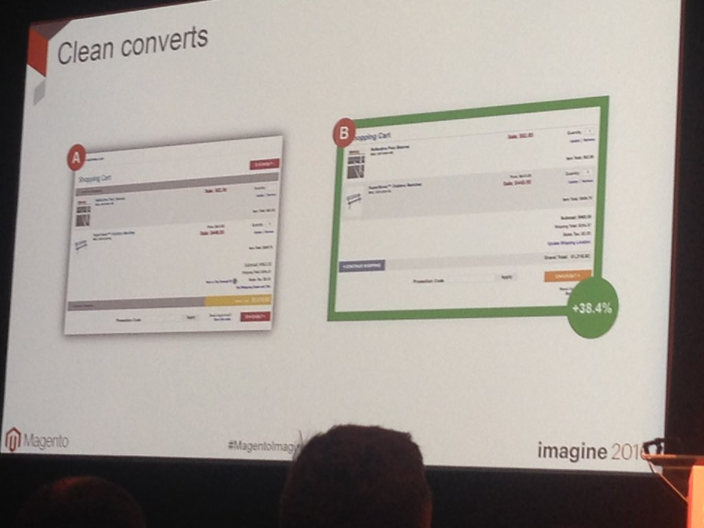 alliburg: Simple cleaning up cart interface increased conversions by 38% powerful stuff @kpe #MagentoImagine https://t.co/5W7w6axMjQ