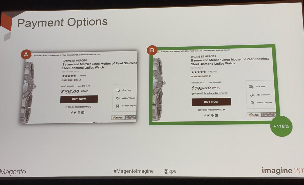 annhud: What? Payment plans for high ticket items gave 118% uplift #abtest #MagentoImagine https://t.co/EBojeTgsuC
