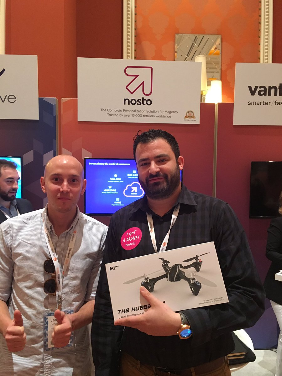 NostoSolutions: Congratulations to @grin_man from @tech_rabbit. Looking good with his new Nosto drone! #MagentoImagine https://t.co/M26n7qfih4