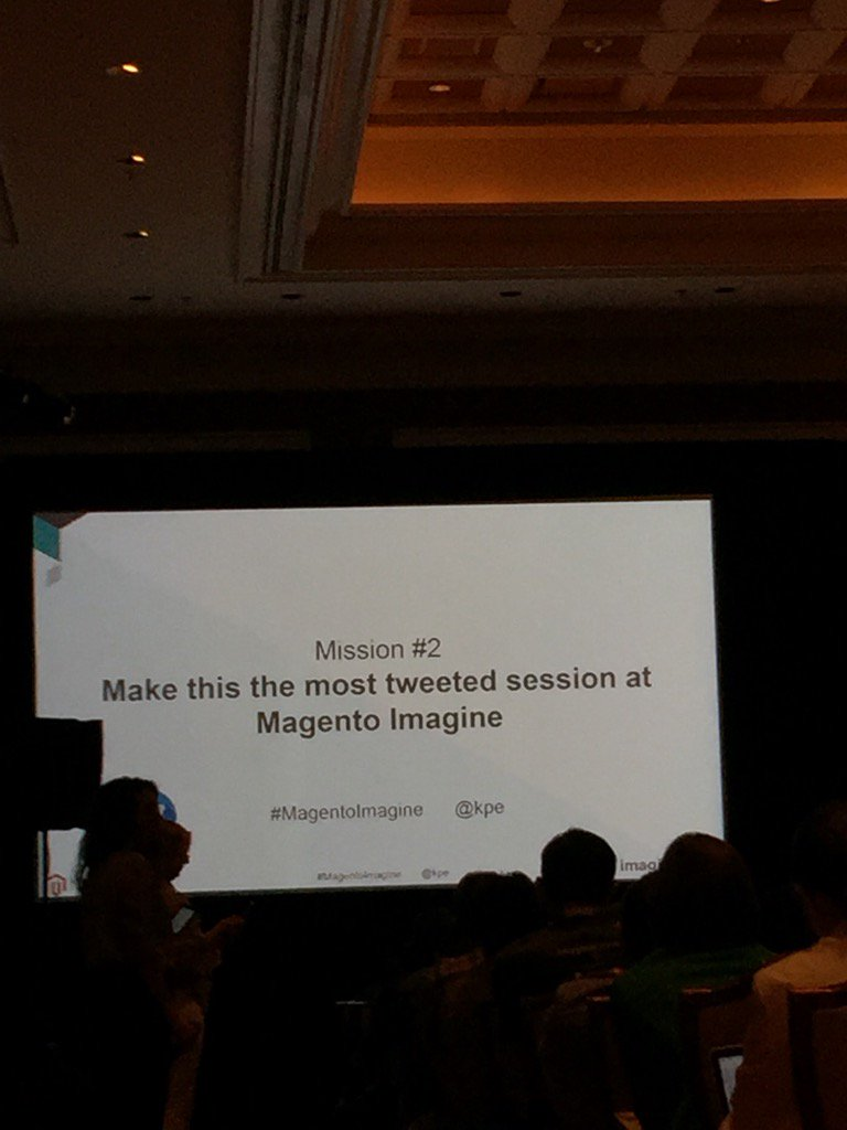JoshuaSWarren: Twitter friends - I can't let this challenge from @kpe go unanswered. Come tweet my session at Noon! #MagentoImagine https://t.co/UUlL5ww9lJ