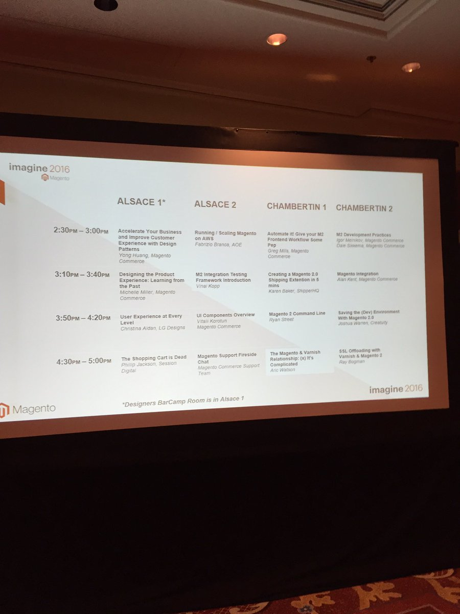 PieterCappelle: The Magento Developer Barcamp schedule! #MagentoImagine https://t.co/MBUkW8HB1e