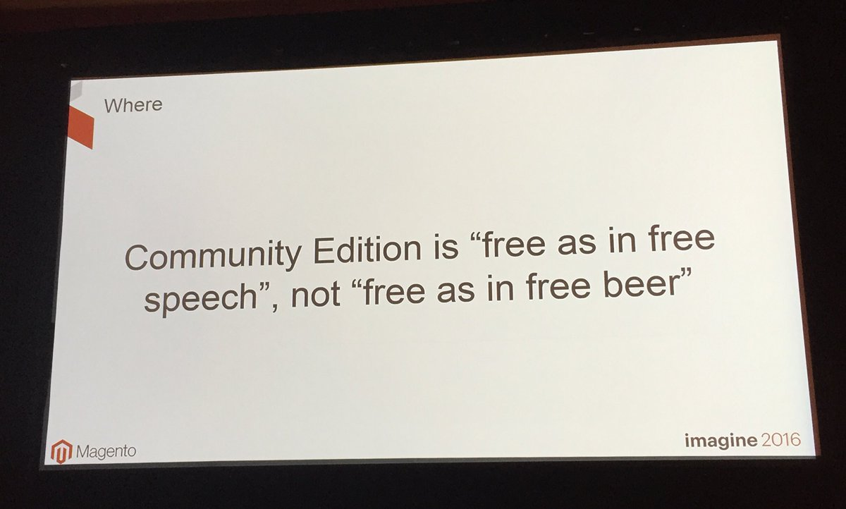 annhud: #opensource platforms aren't free - you still need to pay people to develop and maintain #freebeer #MagentoImagine https://t.co/bzRK2PDqRq