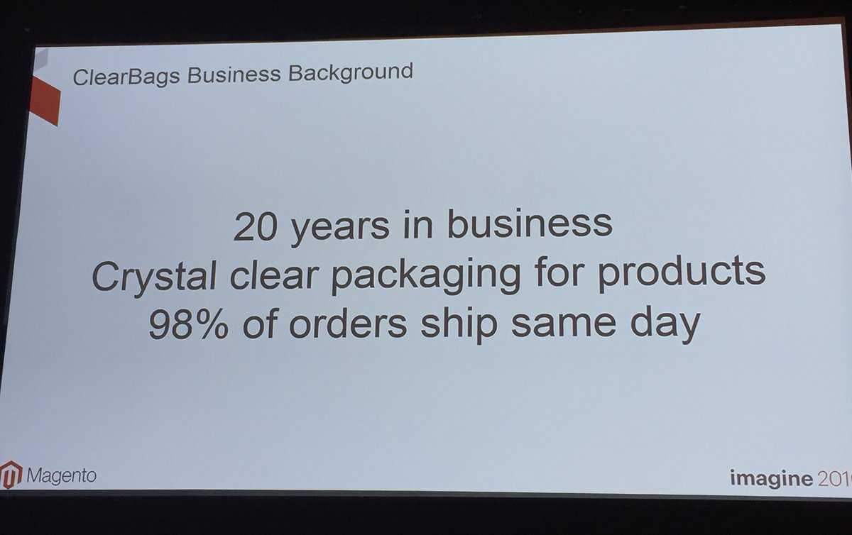 annhud: One of the things I love most about Magento is the diversity of our customers - now @ClearBags #B2B #MagentoImagine https://t.co/MpdLE7VsLe