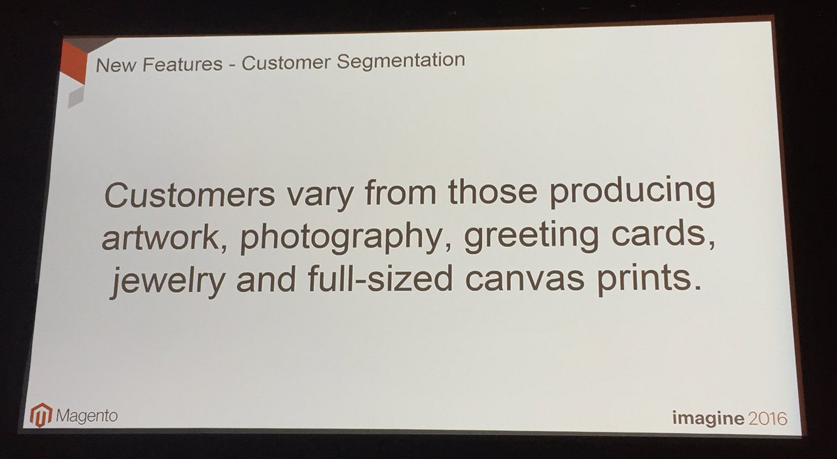 annhud: New Magento customer #segmentation feature in the core of Magento2 @ClearBags customers vary #MagentoImagine https://t.co/Wjwo1OYct4