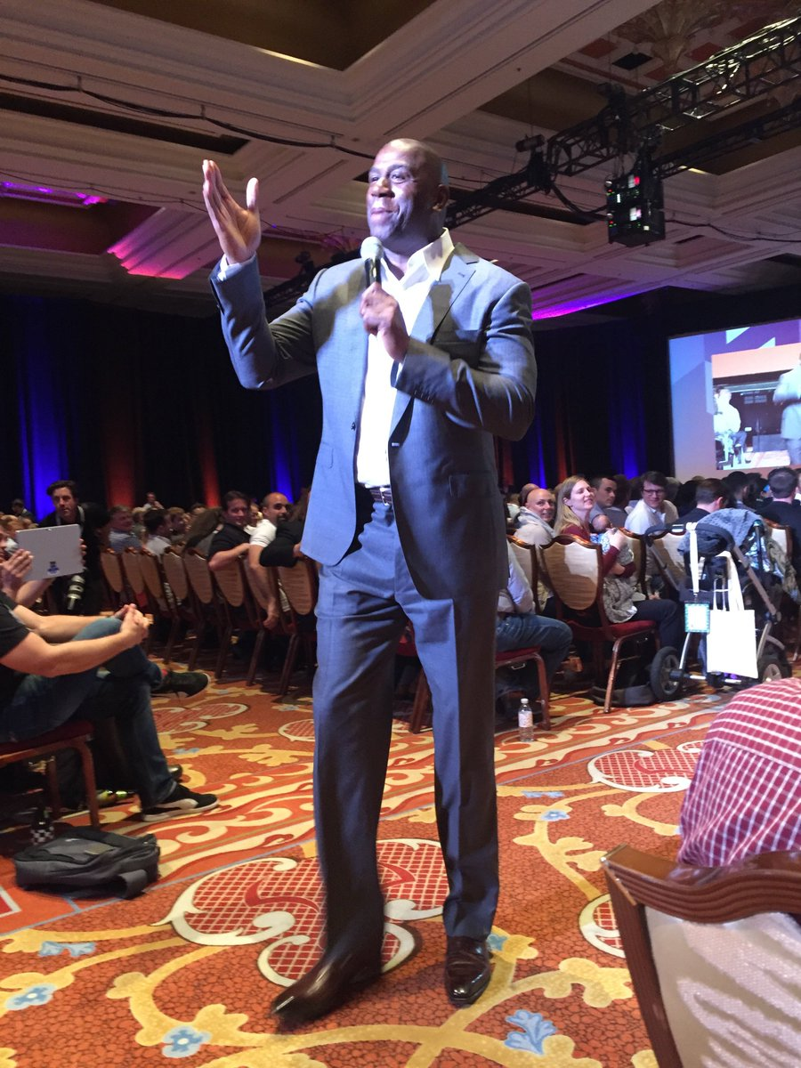 SirGrantFleming: Throw back 2 last night's Magic keynote :) @MagicJohnson preaches overdelivery, and practices it too #MagentoImagine https://t.co/HFVxEsYJvT