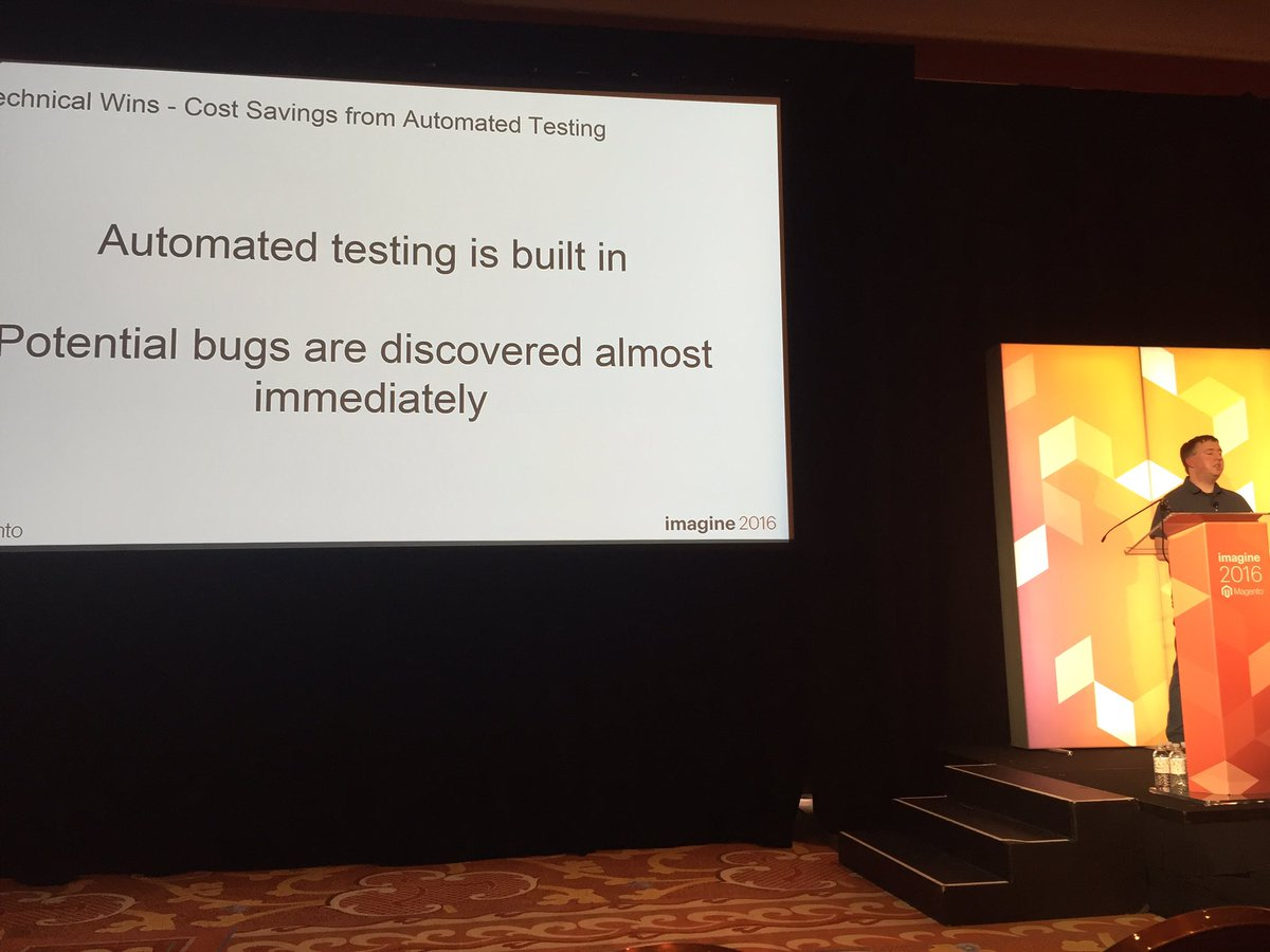 annhud: Magento 2 technical benefits: has fewer potential extension conflicts + automated testing + perf  #MagentoImagine https://t.co/FxCw4vLscx
