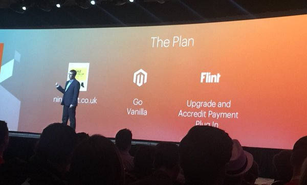 FlintTechLtd: Flint Technology's moment of fame - name checked in the Kurt Geiger keynote at #MagentoImagine. @Verifone #magento2 https://t.co/aGHpnGdeSh