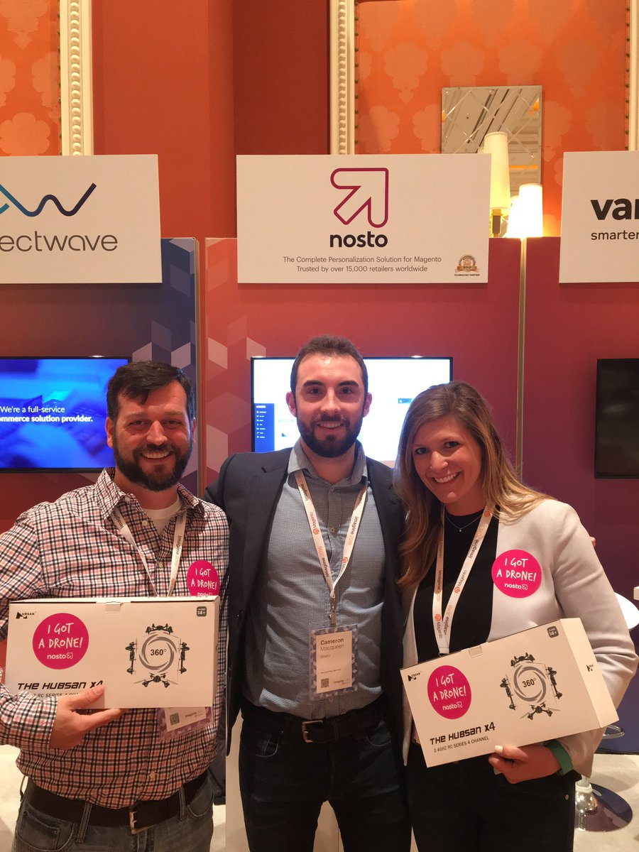NostoSolutions: Congrats to @gelizabeths and @jimmydigital from @blueacorn! Looking good with your new Nosto drones! #MagentoImagine https://t.co/Jnnz9GbKzz