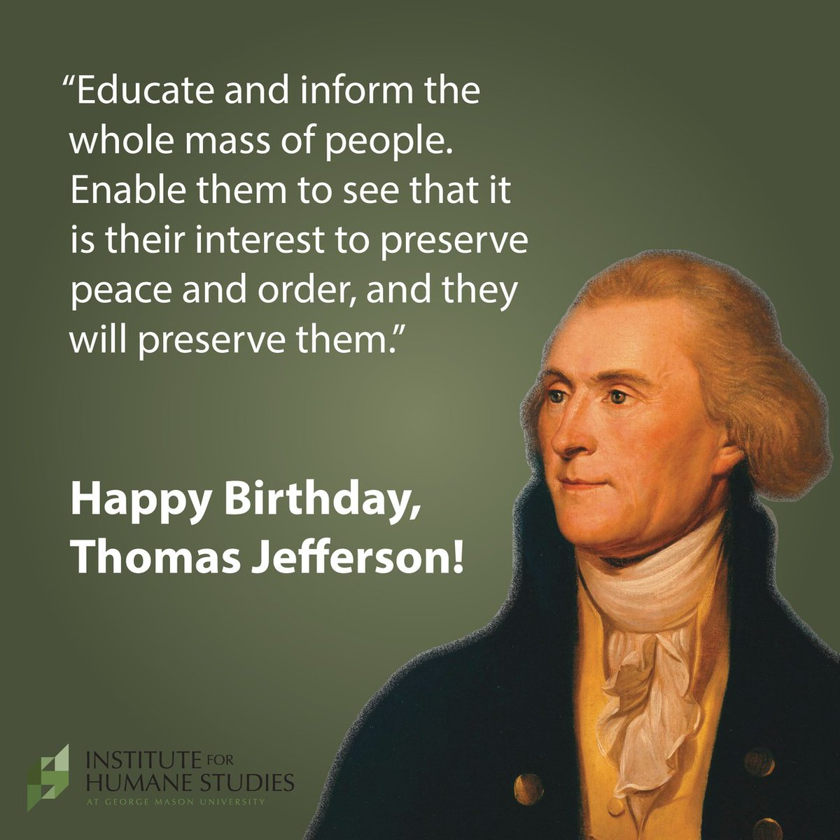 Happy birthday, Thomas Jefferson! #HappyBirthday https://t.co/l7laTxkD3U