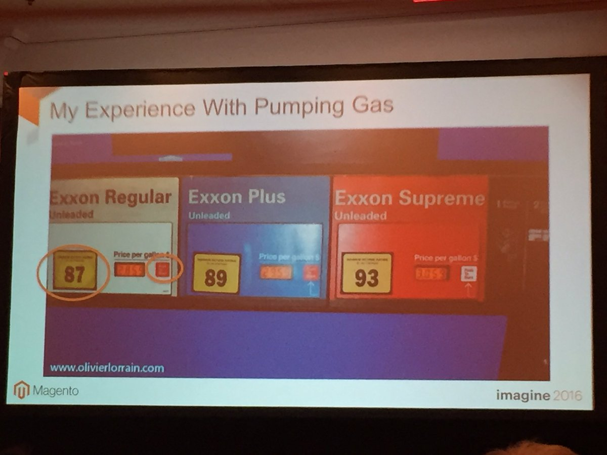 annhud: Great story from Yong about the confusing UX of pumping gas! #design #barcamp #MagentoImagine https://t.co/rsQrj7bdy9