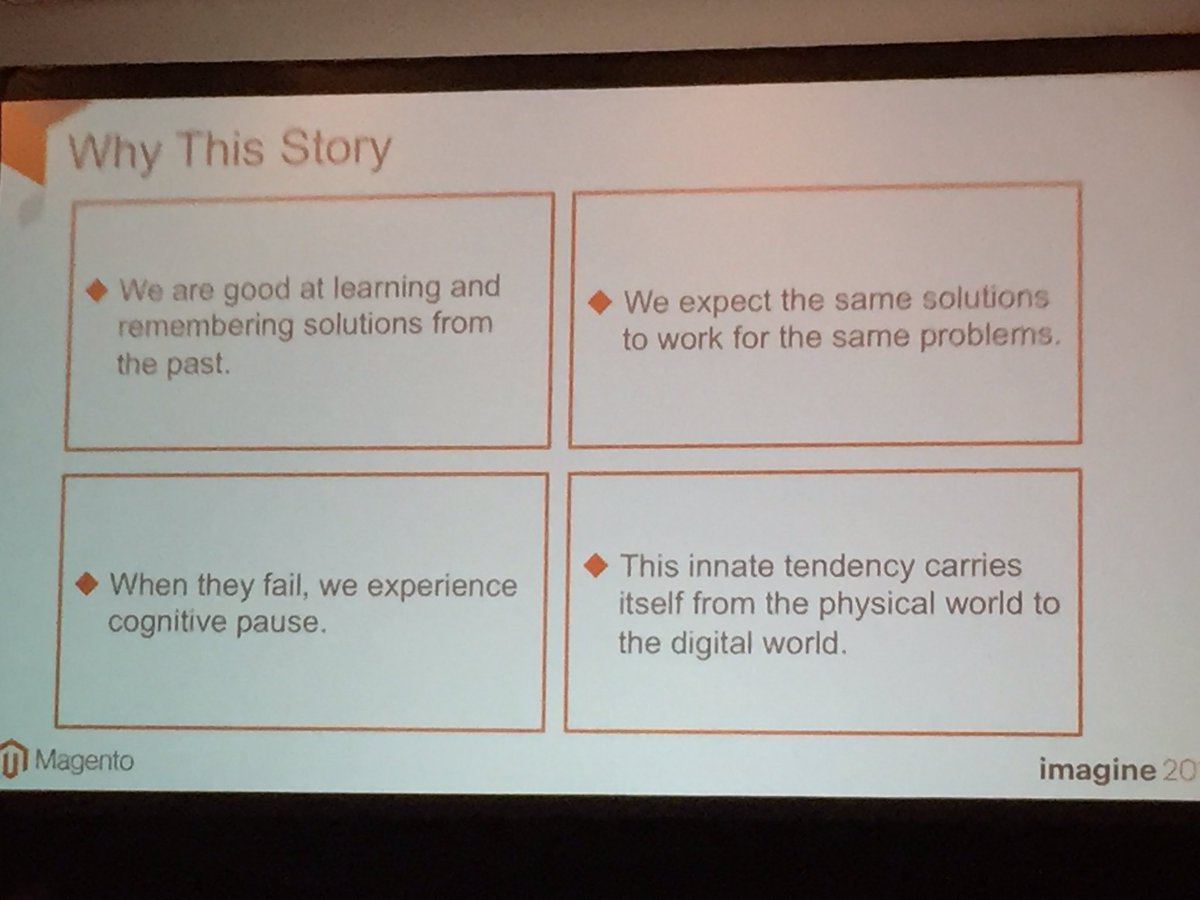 annhud: Why #UX is important: We remember & expect past solutions, failure creates cognitive pause #barcamp #MagentoImagine https://t.co/fh74oMsdMg