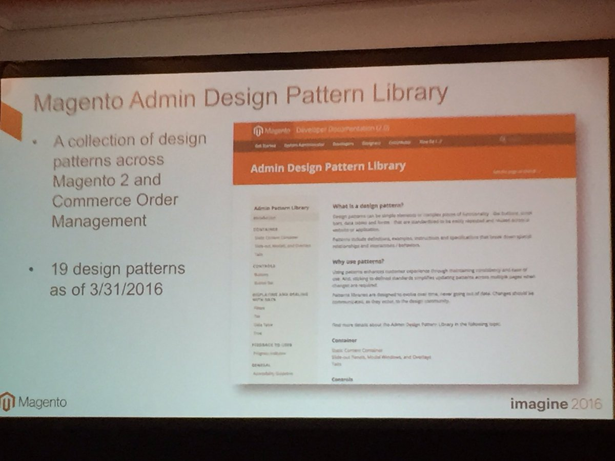 annhud: Magento Admin Design Pattern Library is available now with 19 patterns #design #barcamp #MagentoImagine https://t.co/9fsWDT7xqO
