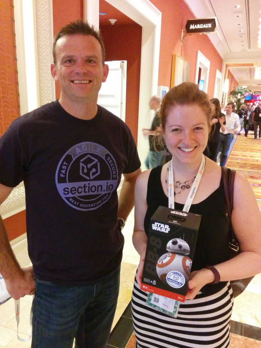 sectionio: Nice work @WhiteMtShoes. Congrats to Amy for winning a #BB8 @magento Imagine. #MagentoImagine https://t.co/YVVJdYdvRw