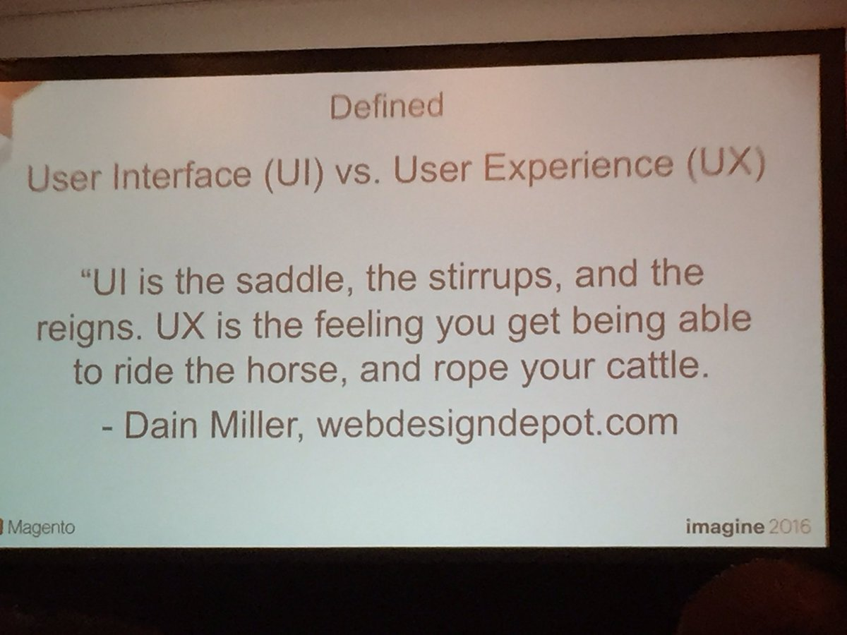 annhud: The difference between #UI and #UX  #design #barcamp #MagentoImagine @luckygirliegirl https://t.co/vEZ4Bvy102
