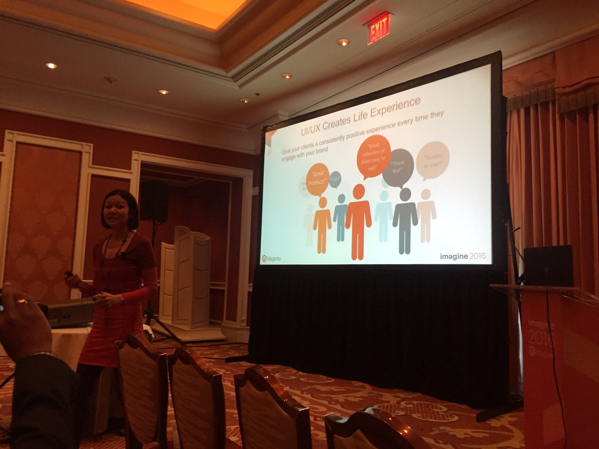vaimoglobal: Christina Aldan began session by reading slides in monotone voice to show bad UX @luckygirliegirl @magentoimagine https://t.co/zUMRoYRlv6