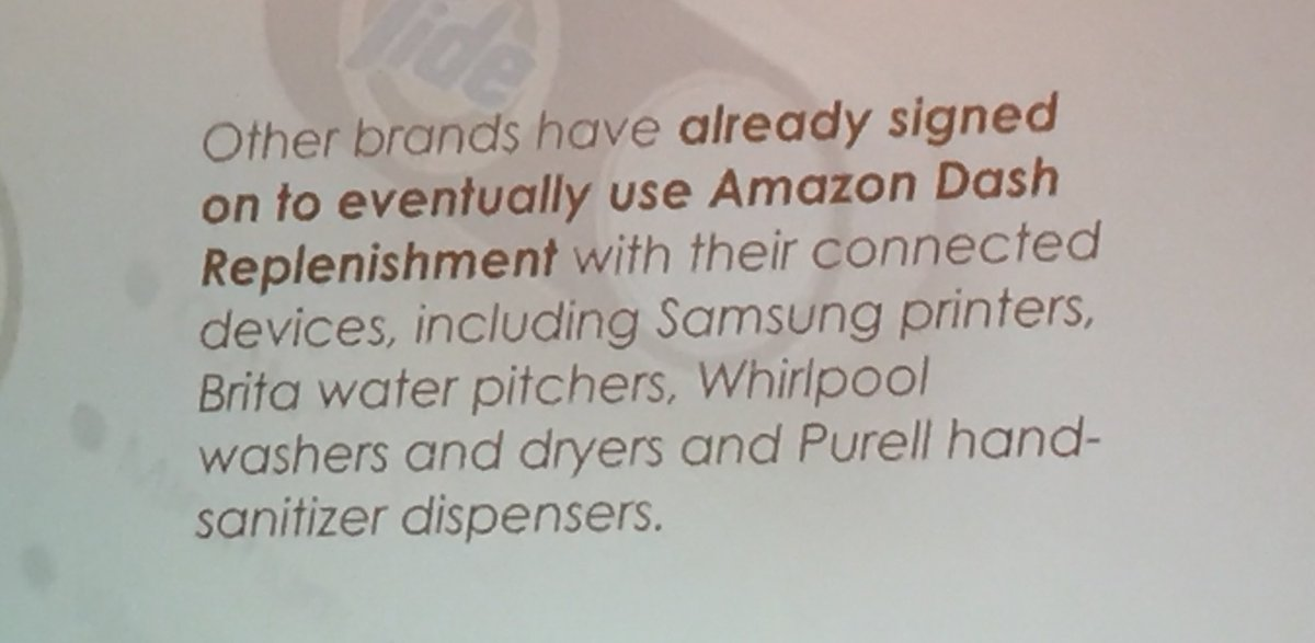 annhud: Brands are going to incorporate Amazon Dash buttons into devices #deathoftheshoppingcart @philwinkle #MagentoImagine https://t.co/meb8EHTuXb