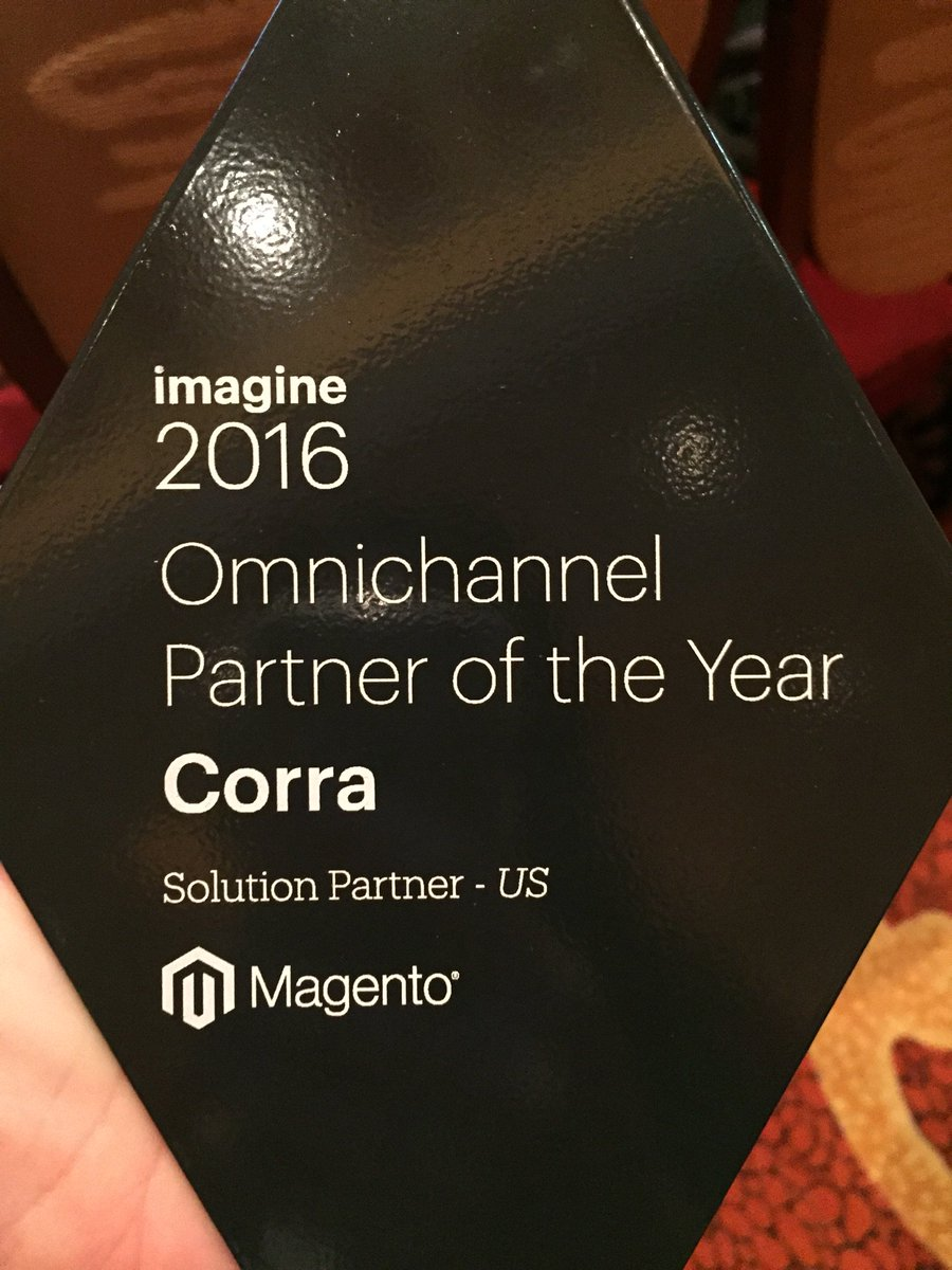 GoCorra: Thrilled to be named @Magento's Omnichannel Partner of the Year. Such an honor! #MagentoImagine #gocorra https://t.co/TDzB911DJ6
