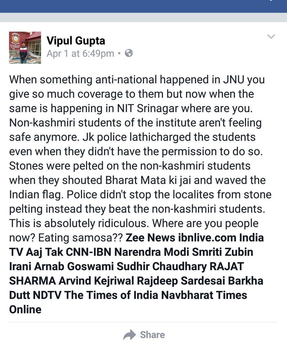 Why no coverage of stone pelting on Indian flag. #pakistanisuar pooping again. #Nitsrinagar https://t.co/MoihJ4G0mI