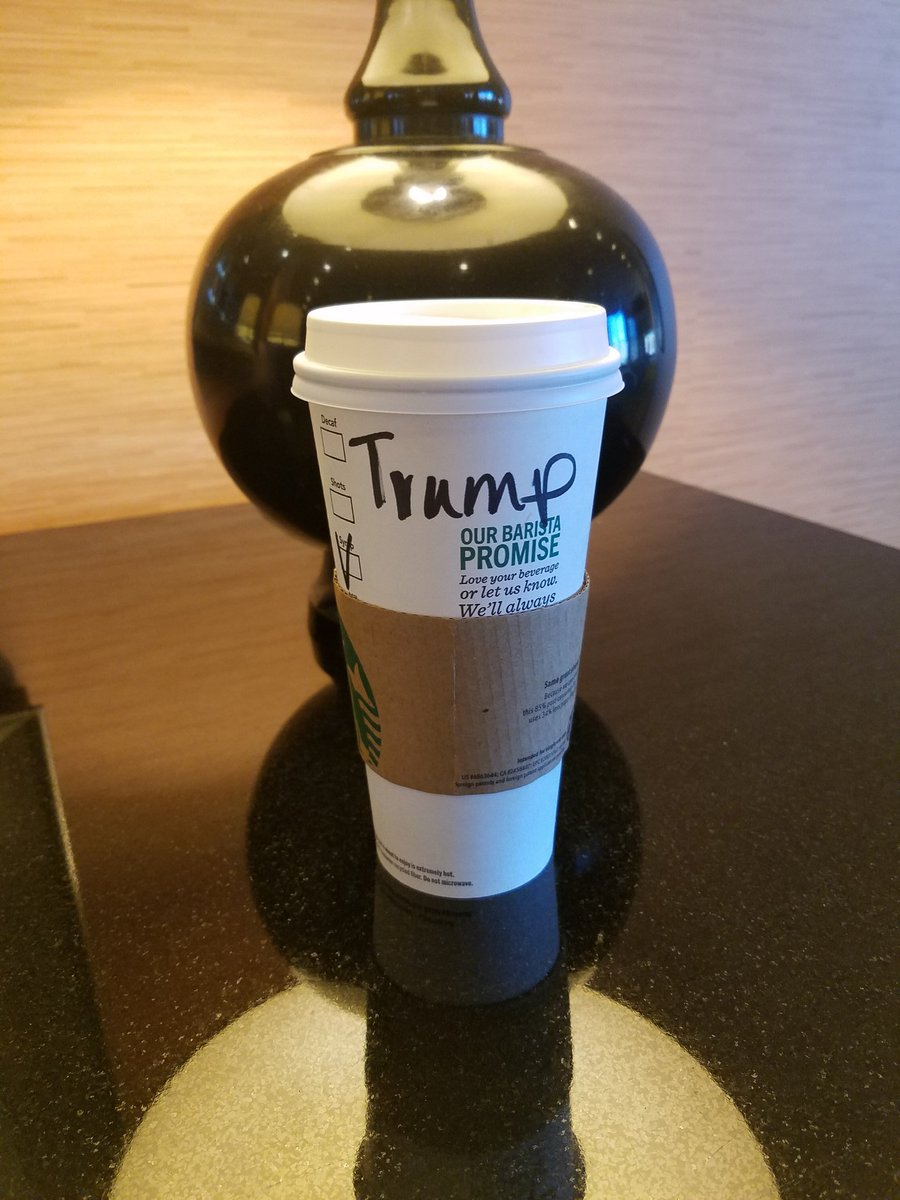 Got wife a coffee(I've never had a cup)The barista refused to call out name. @realDonaldTrump #MustBeABernieVoter https://t.co/n1nQaP9lNy