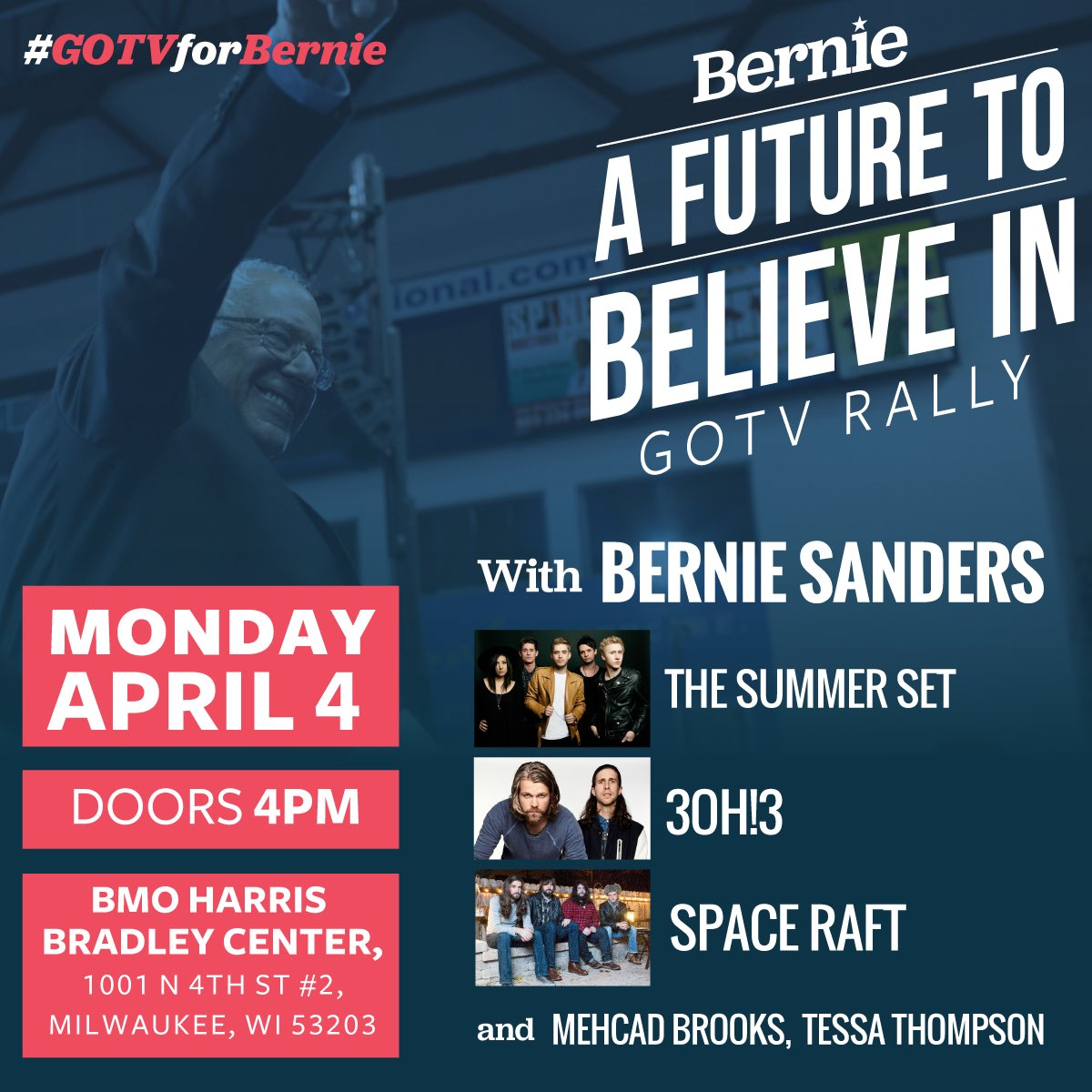 We're honored and excited to be playing for @BernieSanders in Milwaukee on Monday! #FeelTheBern https://t.co/W6HHGSdEST