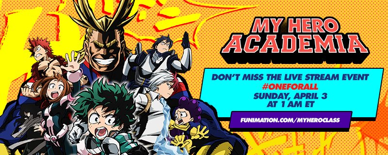 Join us on https://t.co/MgkFSbLWVW for @Funimation's #MyHeroAcademia Launch event! Guests, prizes, & Ep 1 recap!! https://t.co/BxpBDD5pky