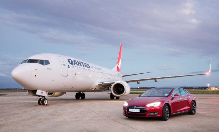 Our @Boeing 737 up against a @TeslaMotors Model S to celebrate innovation and sustainability