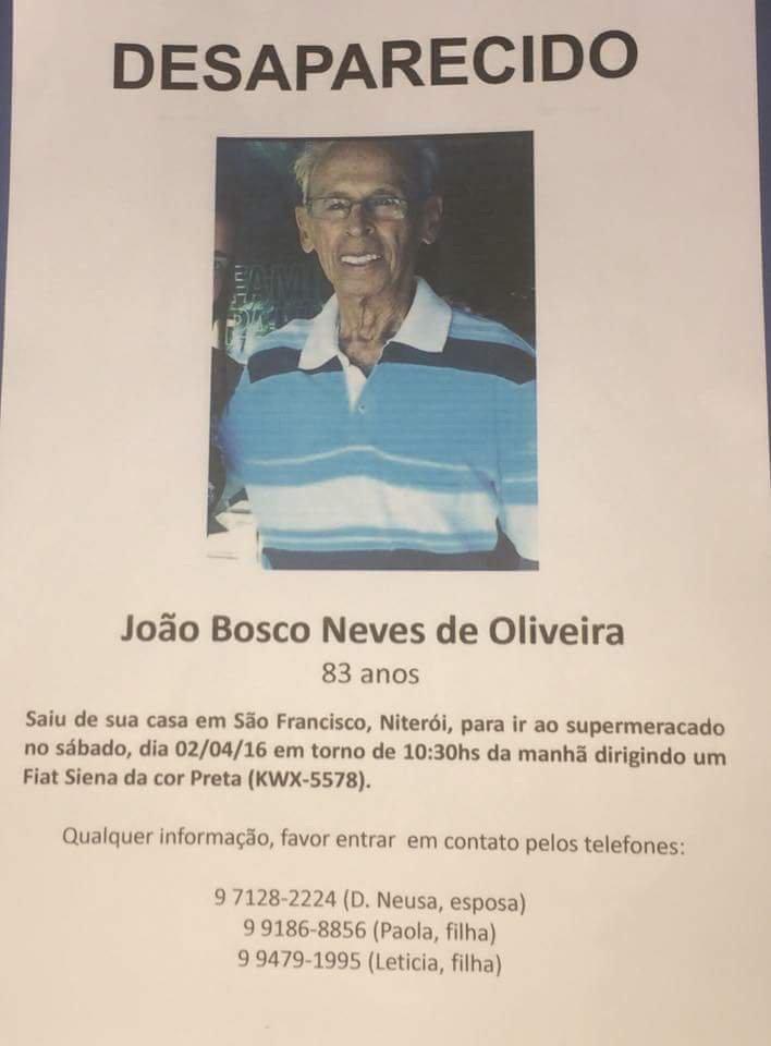 Esse Sr desapareceu eu São Francisco-Niterói. Vamos divulgar e ajudar a família. https://t.co/M0DFyEsoio