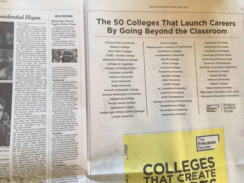 We're excited to see Marist in this @nytimes fullpage spot for @ThePrincetonRev list of Colleges That Create Futures https://t.co/alJkQWenRV