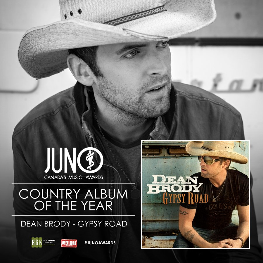 #GypsyRoad wins Country Album of the Year at @TheJUNOAwards!!! RT to congratulate Dean! https://t.co/pAdt2qHw0z https://t.co/x006mPEr5A
