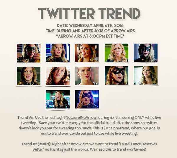 Laurel Lance fans, please join us on April 6th for the twitter trend! RT and spread the word: https://t.co/64FzrJQzV6