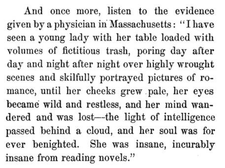 """She was insane, incurably insane, from reading novels."" Great anti-novel rant from 1864: https://t.co/vIJJ4pOWZb https://t.co/w7V4m29EFf"