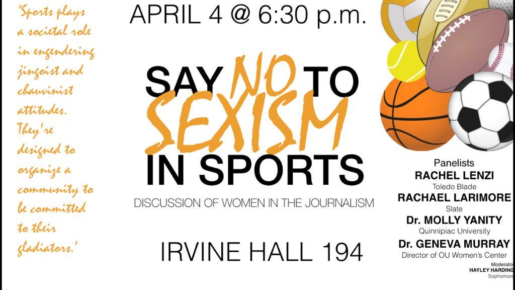 "Put the ""Say NO to Sexism in Sports"" program on your calendar @scrippsjschool @ScrippsOU — 4/4 6pm Irvine Hall 194 https://t.co/HhVcySsFPD"