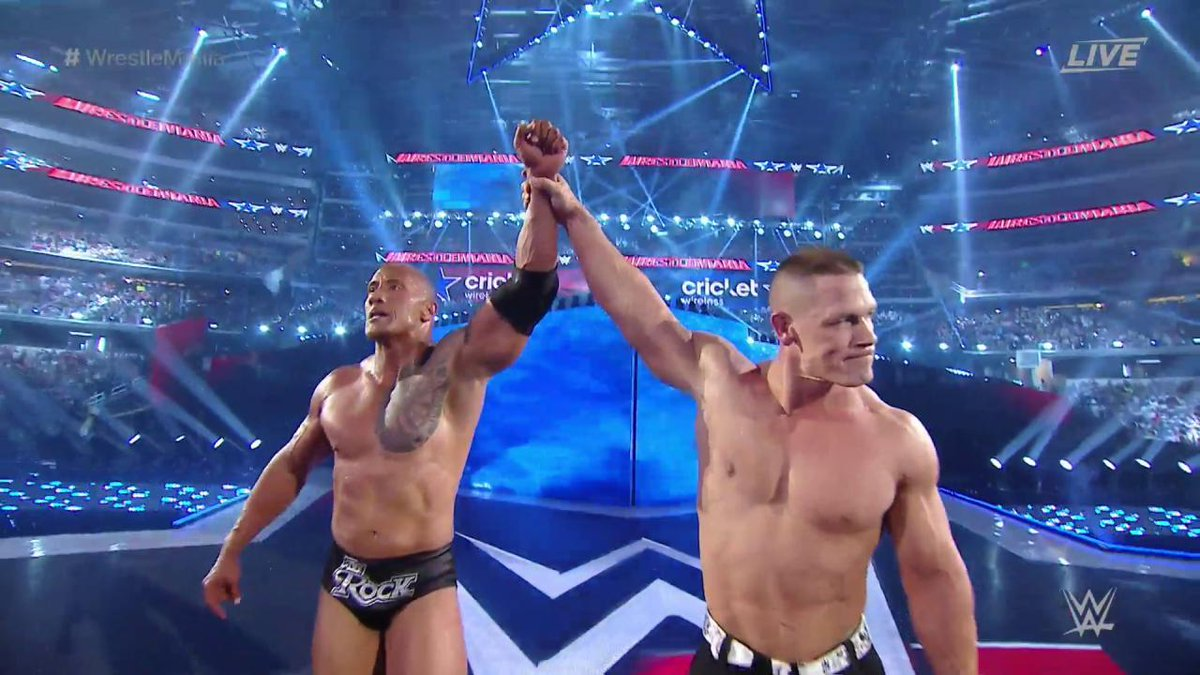 Arrive. Make #WrestleMania moments. Leave.   @JohnCena @TheRock https://t.co/W9fNyQuUt1