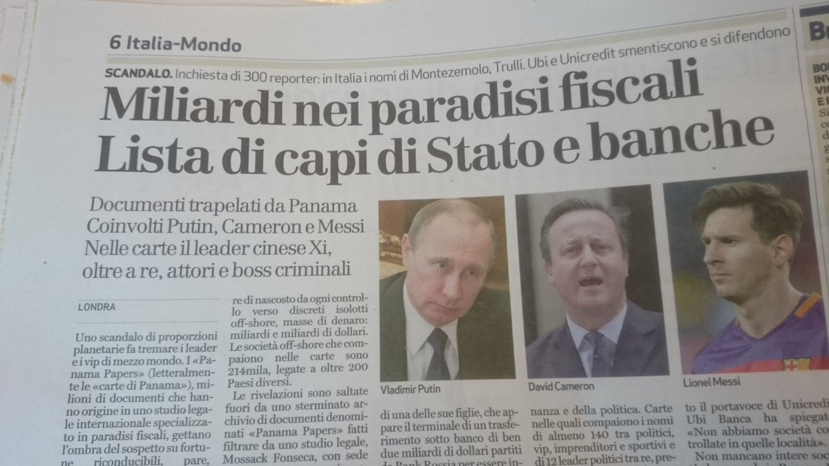 What a surprise! Italian papers reporting @David_Cameron has money stashed in tax havens @BBCNews can't mention it https://t.co/smUf5aUQui