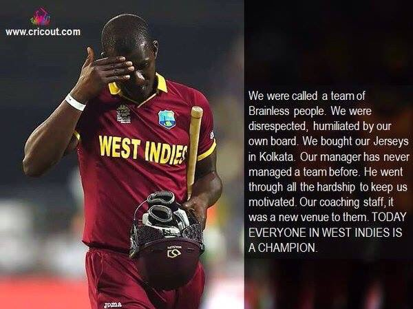 Believe in yourself. The world will start believing in you. @darrensammy88 #WestIndies #Champion https://t.co/14yJU56RSy