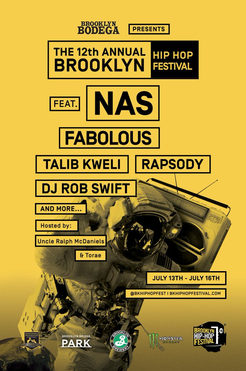 @Nas Set to headline the 2016 Festival along with @myfabolouslife @TalibKweli @rapsody https://t.co/3fVEr6P37a https://t.co/zo99ETRsji