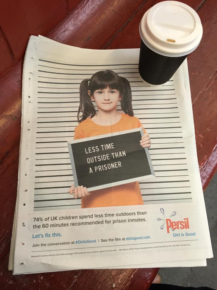 Many kids spend less time outside than prisoners. Great ad w/ purpose @persiluk https://t.co/n5bx0zURxh #DirtIsGood https://t.co/UJDxfCi6rS